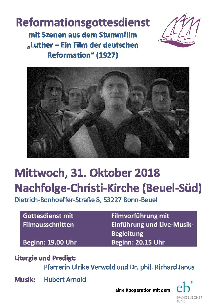Luther-Stummfilm mit live gespielter Orgel-Musik am Reformationstag